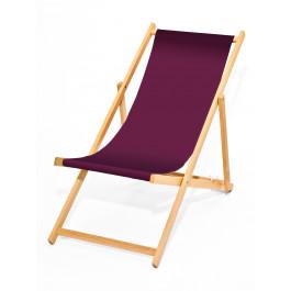 Holz-Liegestuhl CLASSICO ohne Armlehnen, wechselbarer Bezug, hell, aubergine